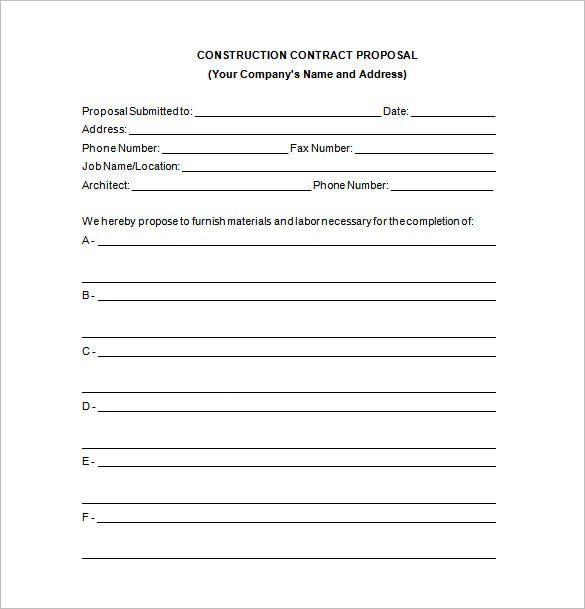 construction contract proposal word - Free Proposal Template