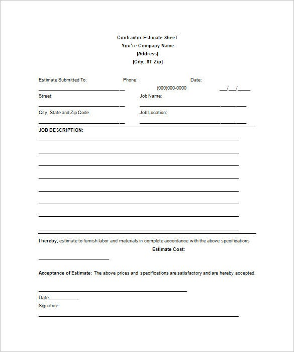 Contractor Blank Estimate Sheet Template Free Download