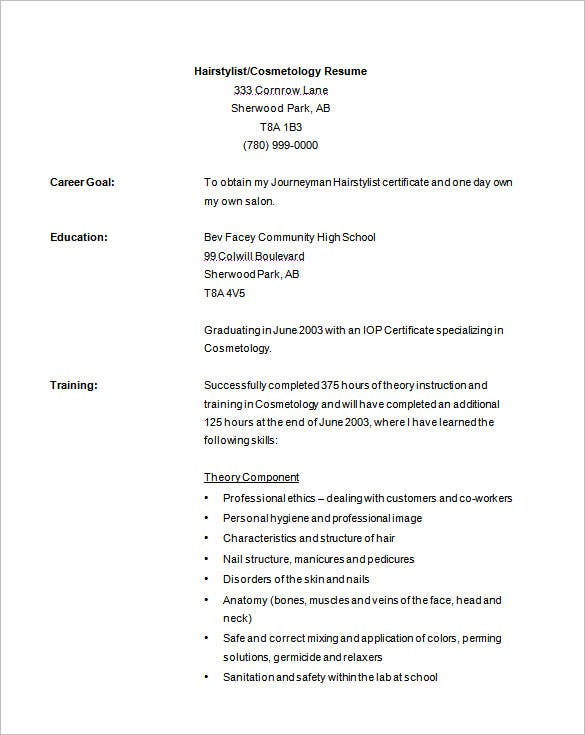 Cosmetology Resume Template Free Download  Hair Stylist Resume Examples