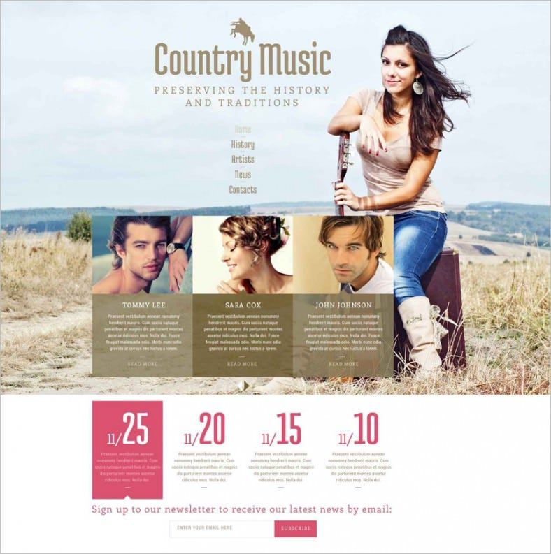 country music fan club website template 788x793