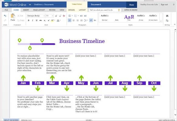 create business project timeline template for word online