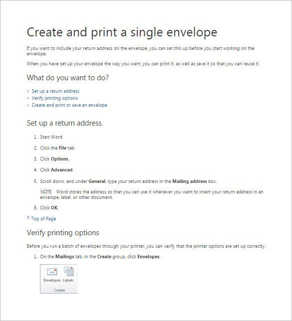 create and print a single envelope