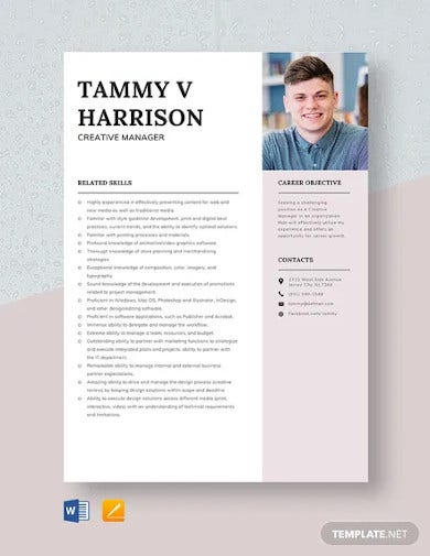 creative manager resume template