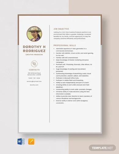 creative producer resume template