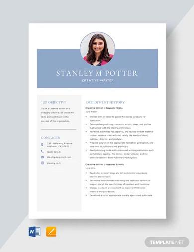 creative writer resume template