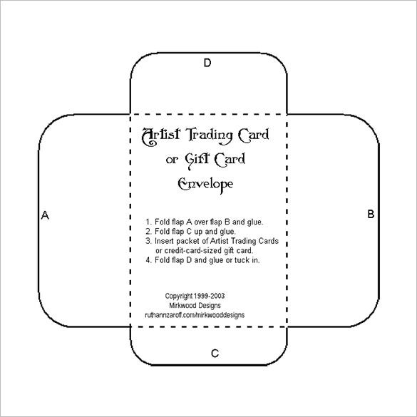 credit card sized gift card envelope free download