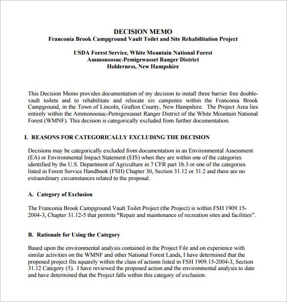 Critical Decision Memo Template Pdf Download