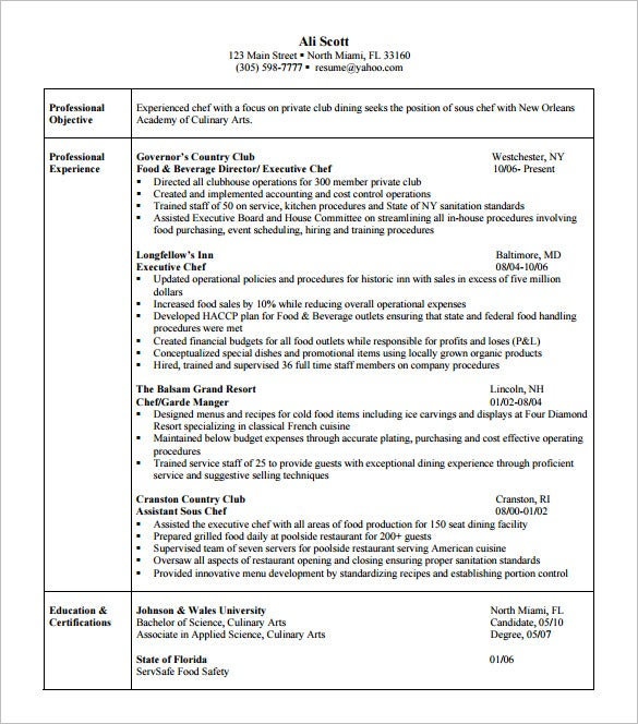 culinary arts resume