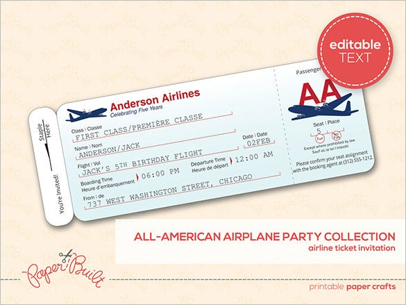 Ticket templates 99 free word excel pdf psd eps formats customizable airline ticket invitation templae pronofoot35fo Image collections