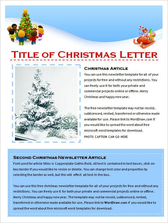 cute holiday christmas newsletter template free download