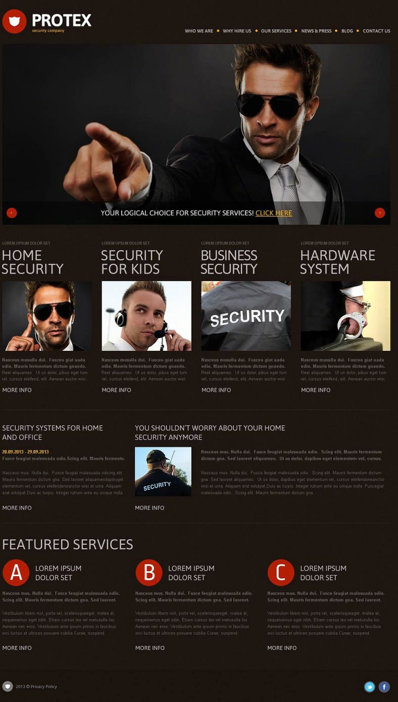Dark Black Wp Theme for Security Agency
