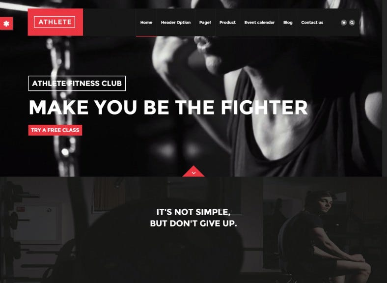 Dark Colour Drupal Theme for Fitness, Gym and Sport