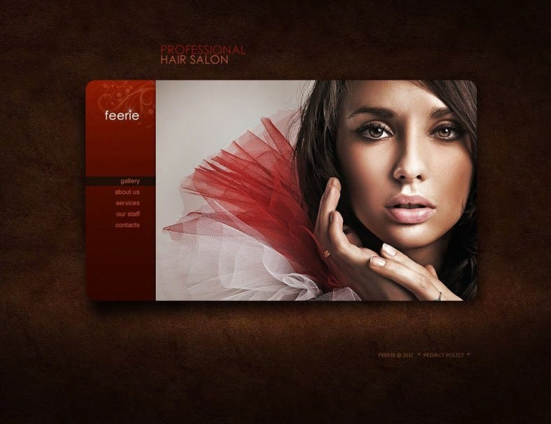 Dark HTML Website Template for Hair Salon