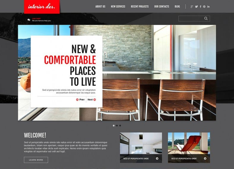 Dark Joomla Template for Office Interior
