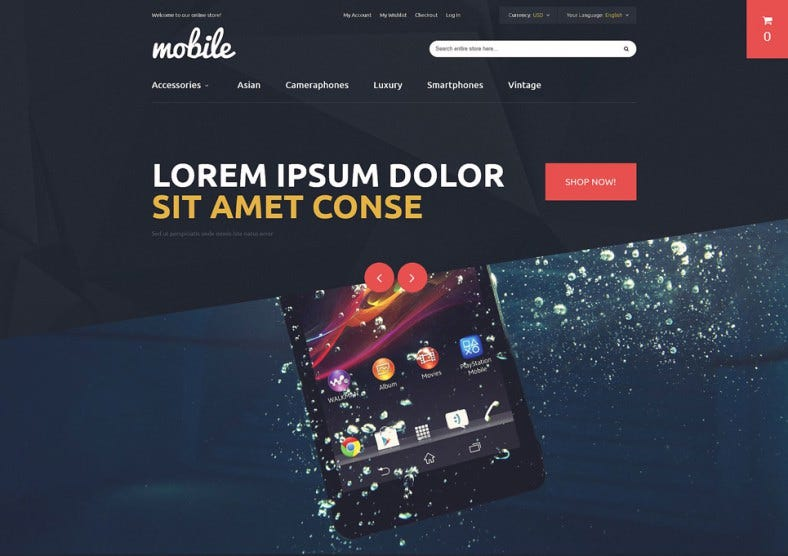 Dark Magento Theme for Mobile Phones and Accessories
