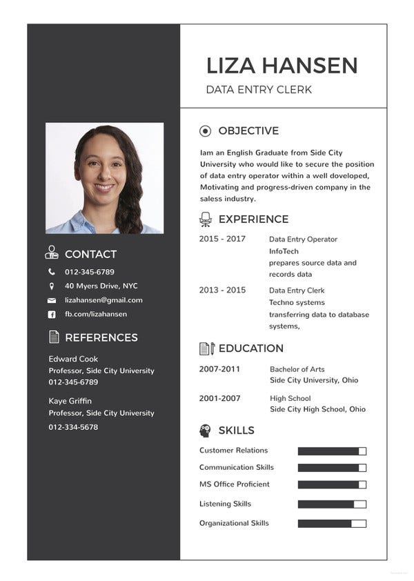 data entry clerk resume template