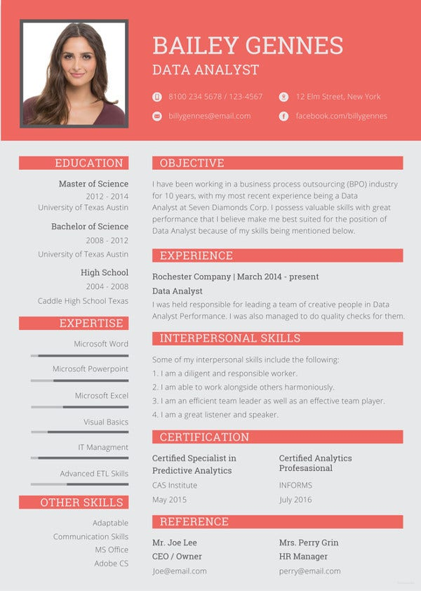 data entry resume template
