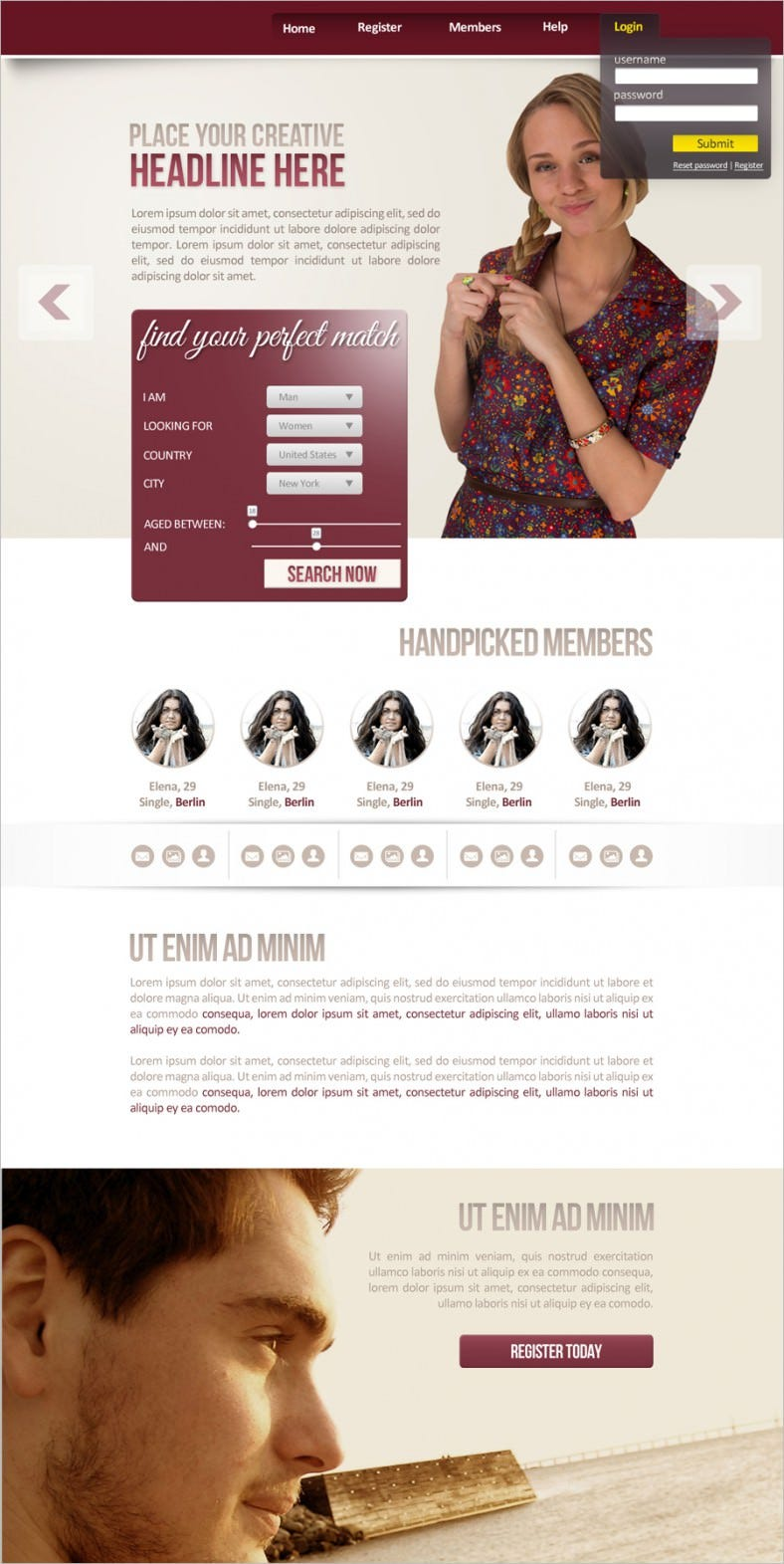dating landing page template 788x1571