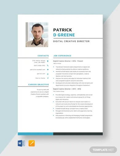 digital creative director resume template