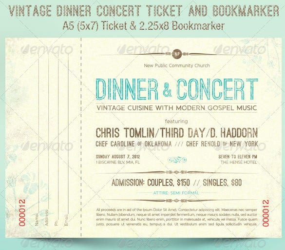 Vintage Dinner Concert Ticket Template  Printable Concert Ticket Template