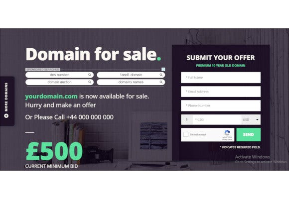 domain for sale php landing page