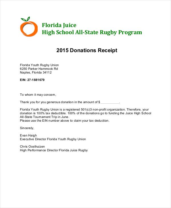 donation receipt letter
