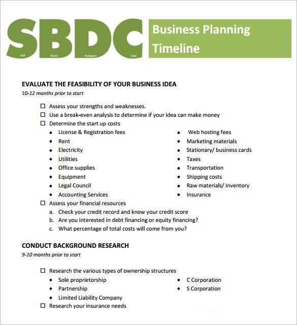 download business planning timeline template example