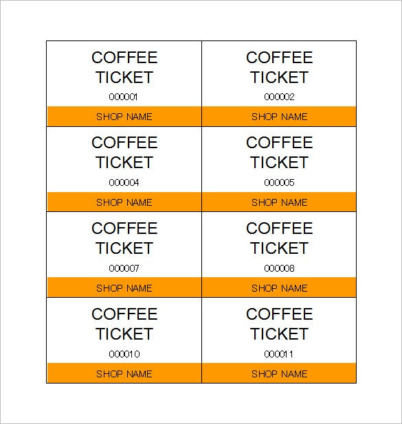 Download Coffee Ticket Template In Excel  Printable Blank Tickets