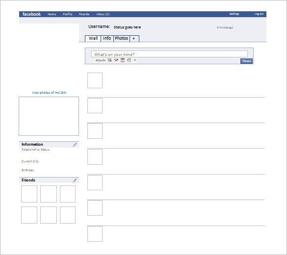 graphic relating to Printable Facebook Template titled 49+ Fb Templates - Document, PDF, PSD, PPT Cost-free Top quality