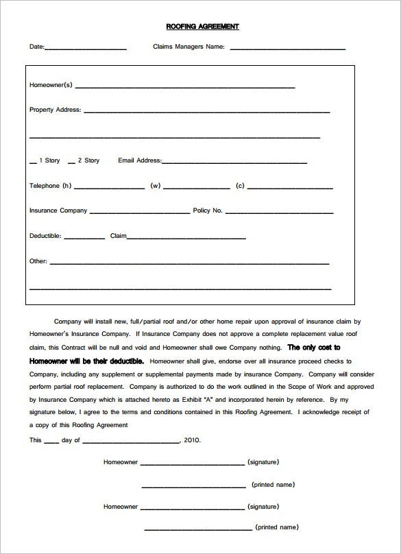Elegant Download Free Roofing Contract Agreement Template PDF Format