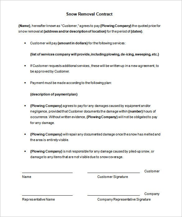 download printable snow removal contract template
