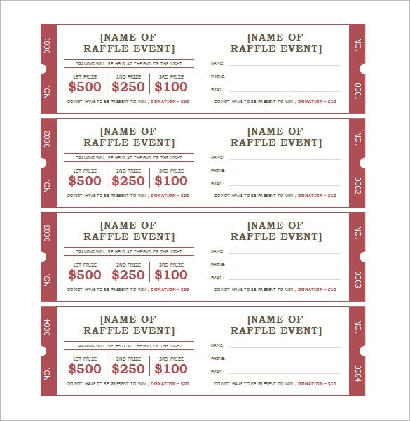 Ticket Template 91 Free Word Excel PDF PSD EPS Formats – Raffle Ticket Template Free Microsoft Word