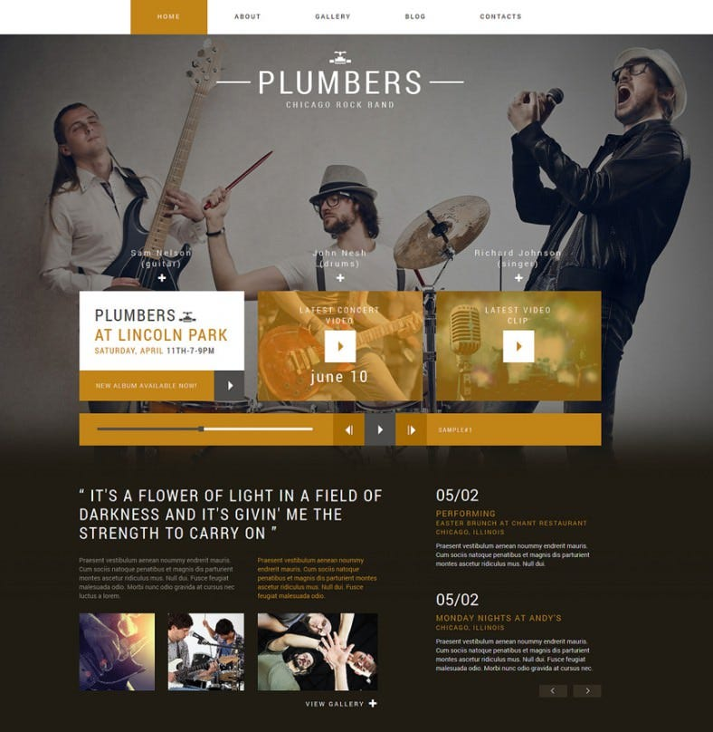 dream rock band project joomla template 788x808