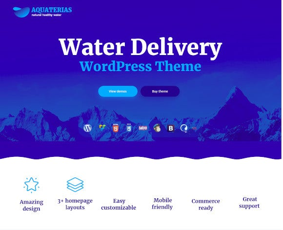 drinking mineral water delivery wordpress theme