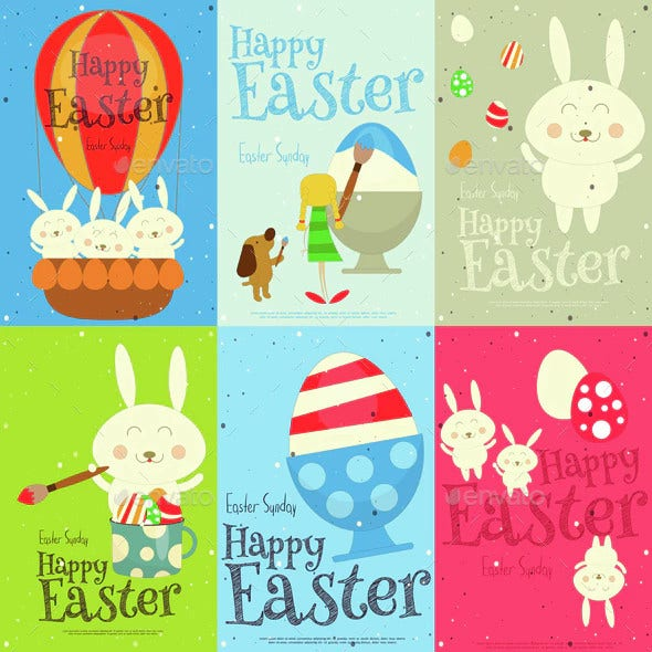 easter cards set template