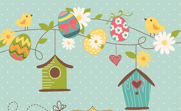 easter eggs with birds houses template design