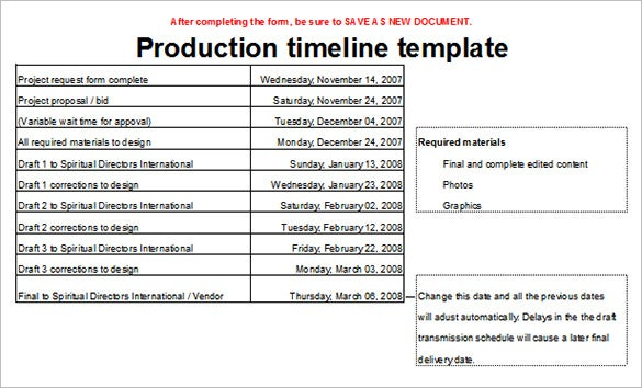 editable production timeline template sample