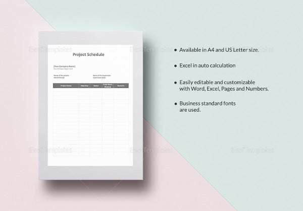 editable project schedule template