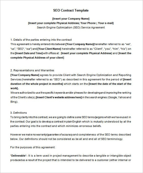 editable sample seo contract template free download