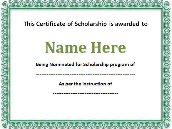 9 scholarship certificate templates free word pdf format editable scholarship certificate template word format free download yelopaper Image collections
