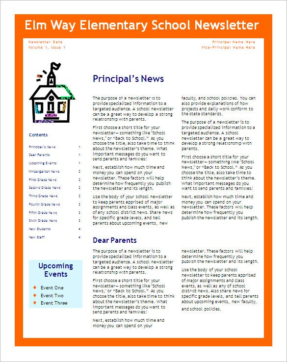 5 school newsletter templates doc pdf free premium for Free editable newsletter templates