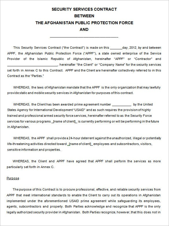 editable security company contract template