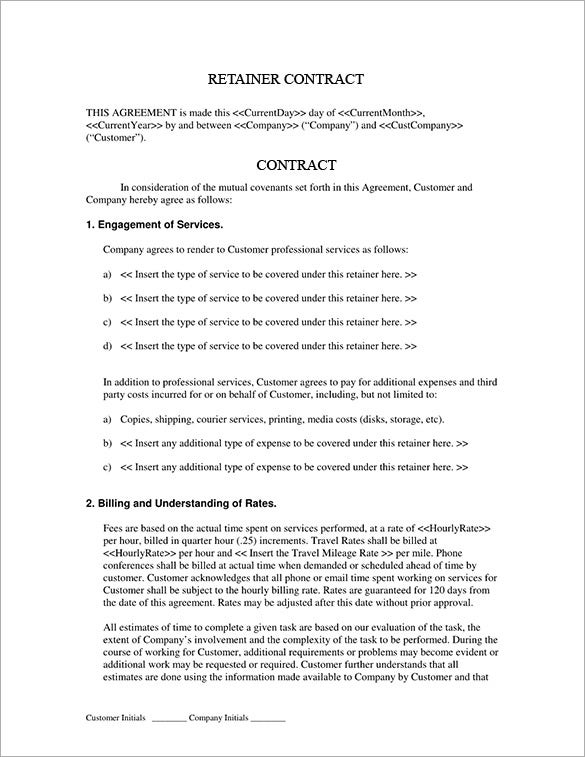 editable services retainer agreement contract template