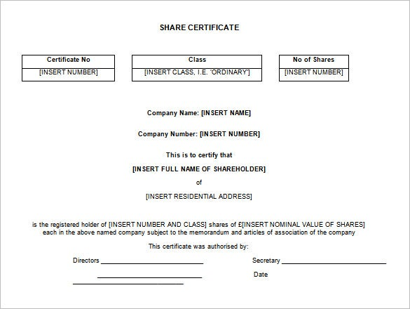 editable share certificate template download