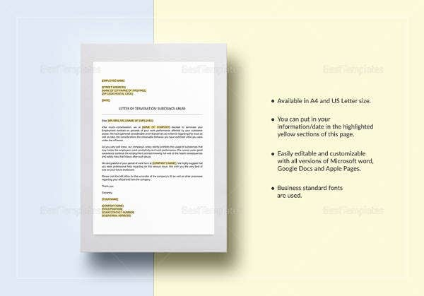 editable termination letter substance abuse template download