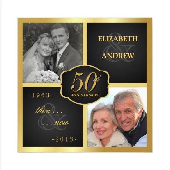 elegant 50th anniversary square paper invitation card