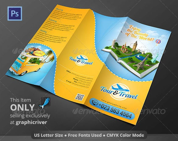 elegant tour travel trifold brochure