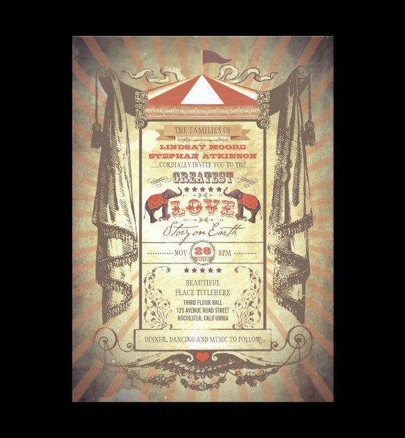 elephants carnival circus invitation template