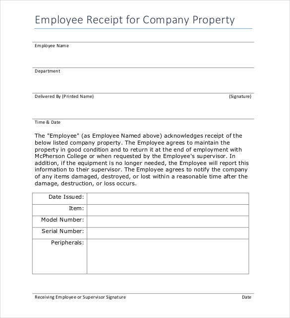 employee-receipt-for-company-property