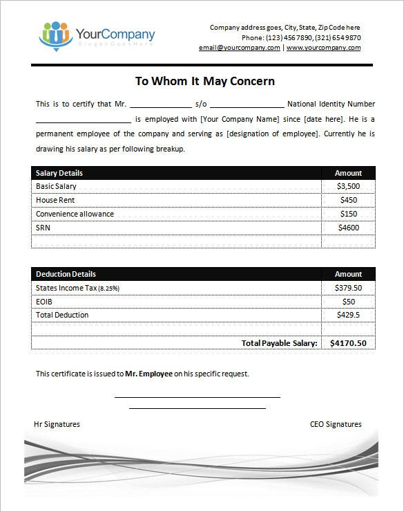 Salary Certificate Template 25 Free Word Excel PDF PSD – Sample Salary Letter